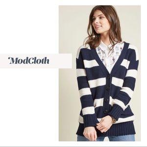 NEW ModCloth White Navy Striped Knit Cardigan